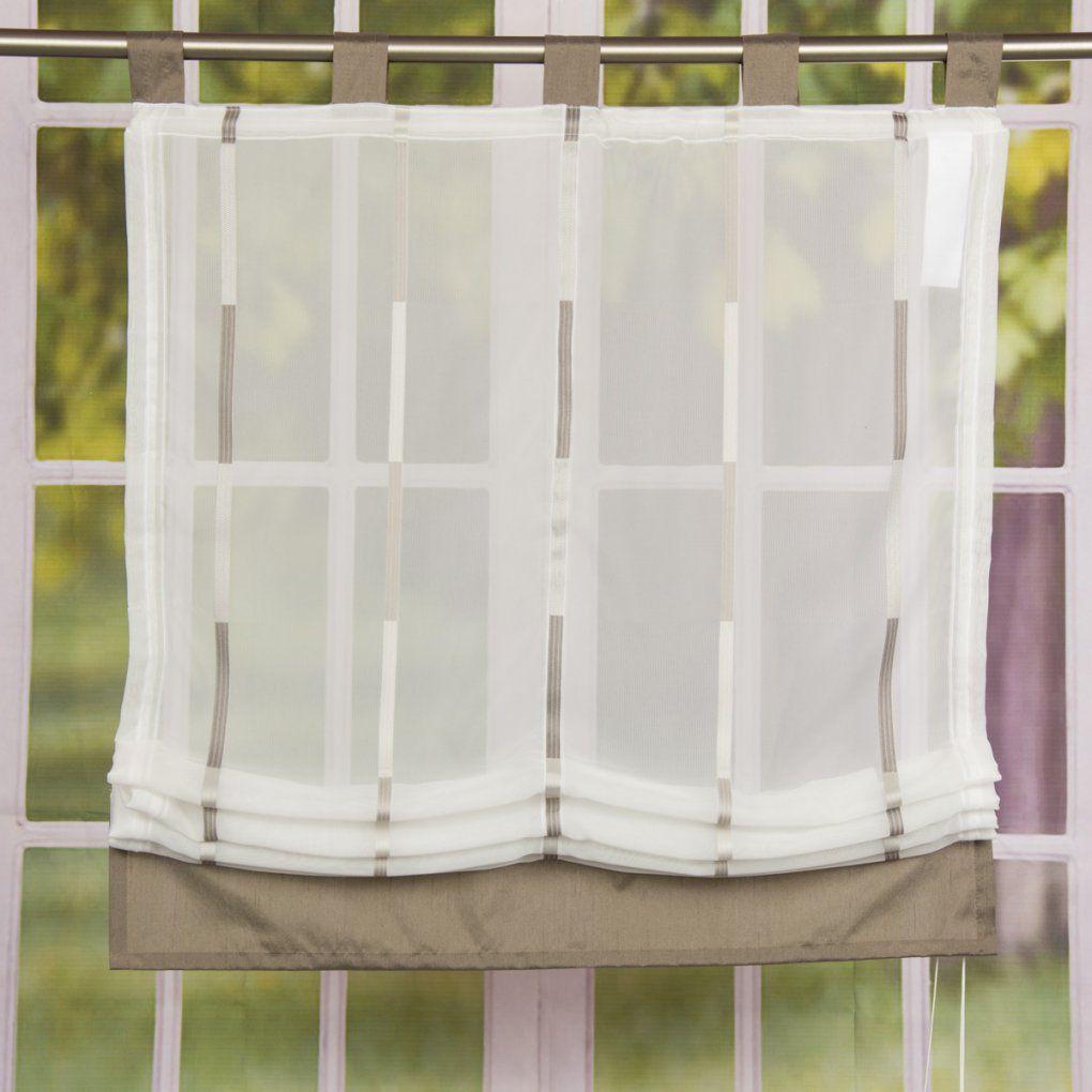 Raffrollo Rollo Schlaufen Weiß Transparent Mit Braunen Streifen von Raffrollo Weiß Mit Schlaufen Bild