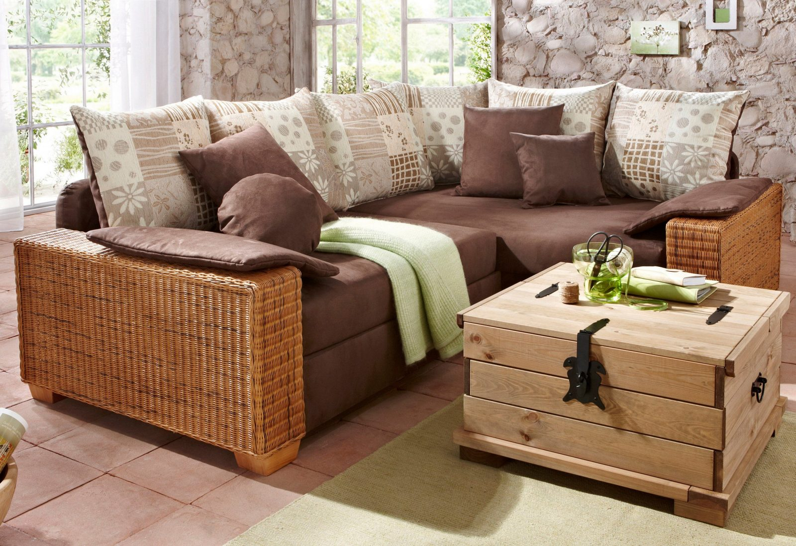 rattan couch mit schlaffunktion haus design ideen. Black Bedroom Furniture Sets. Home Design Ideas