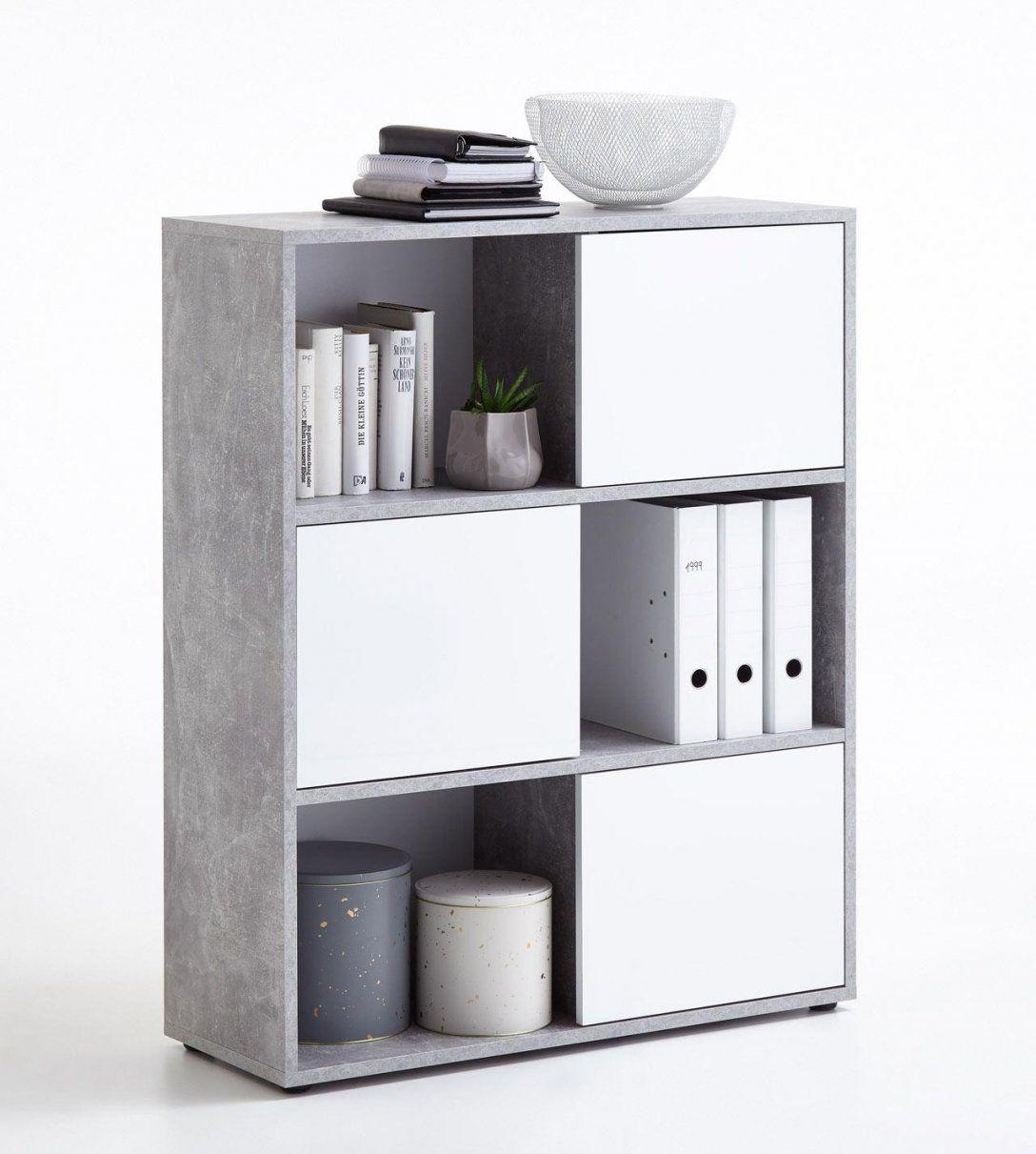 Regal In Grau Beton Türen In Hochglanz Weiß  Kaufen Bei von Regal Mit Türen Weiß Hochglanz Bild
