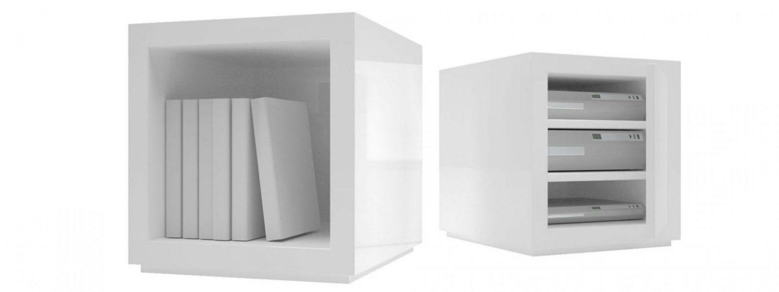 Regalsystem Lectulus – Quadratische Designwürfel Von Rechteck von Regal Mit Türen Weiß Hochglanz Bild