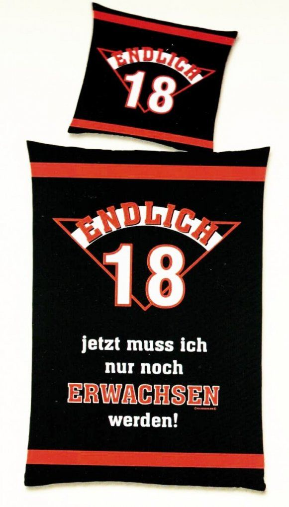 """Renforcé Bettwäsche """"endlich 18"""" 135X200Cm 2 Tlg Global Labels von Bettwäsche Mit Coolen Sprüchen Photo"""
