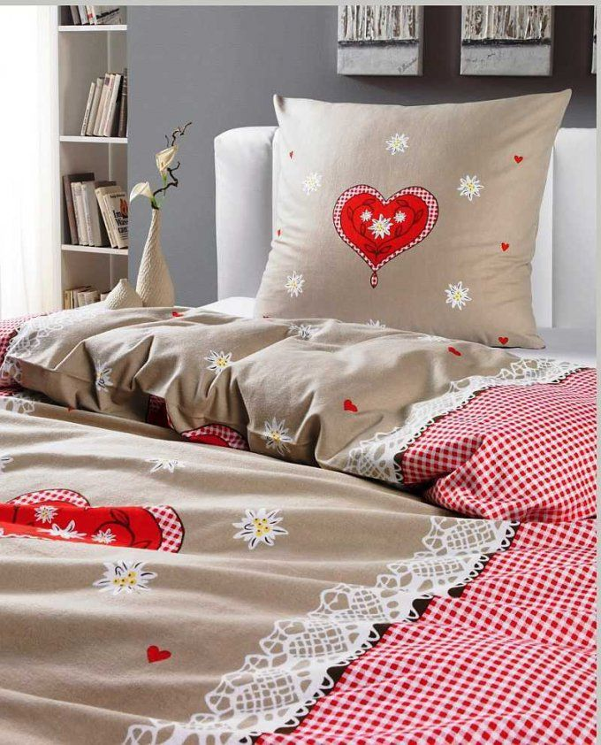Renforce Herzen Bettwäsche 135X200 Cm Alpenglück Beige Rote Herzen von Moderne Bettwäsche 135X200 Bild