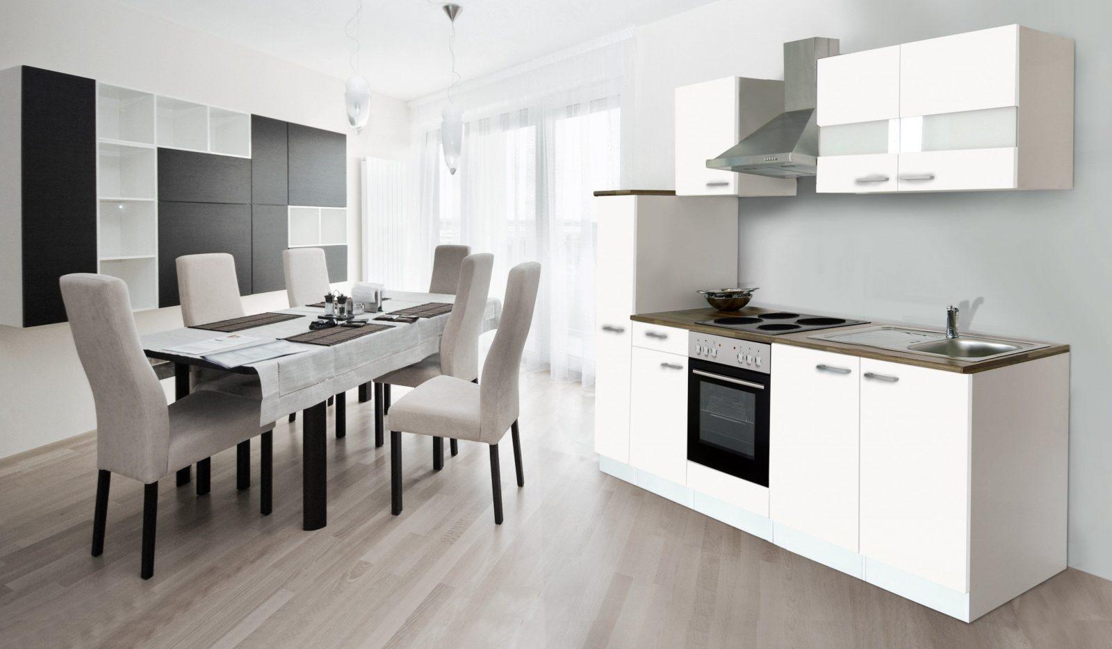 Respekta Küche Küchenzeile Einbauküche Küchenblock 240 Cm Weiss von Küchenzeile 240 Cm Mit Kühlschrank Photo