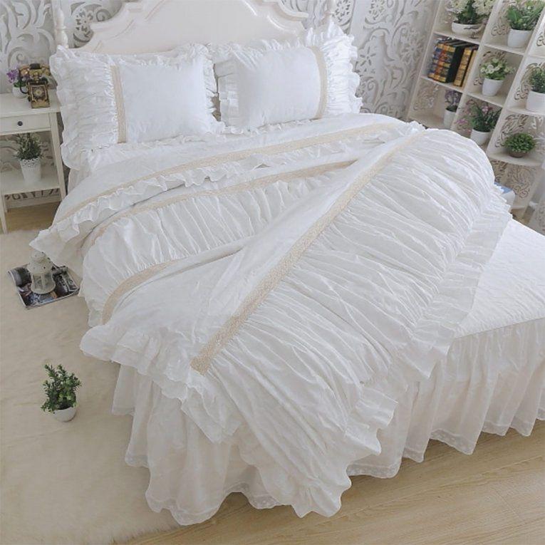 Romantische Bettwäsche Sets Rüsche Twin Voll Königin König von Bettwäsche Prinzessin Kleid Photo