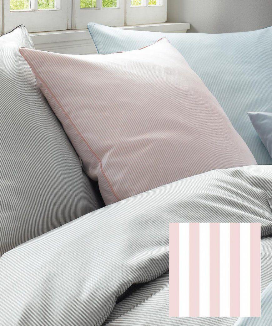 Rosa Nadelstreifen Satin Bettwäsche Mit Paspel Von Fleuresse Modern von Fleuresse Bettwäsche Reduziert Bild