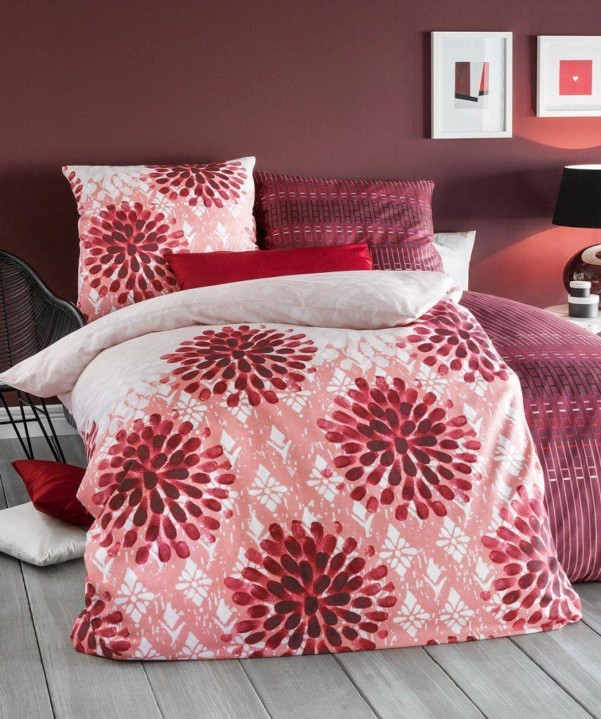 Rote Bettwäsche Blumenmuster Von Fleuresse Modern Garden 200X220 von Bettwäsche 200X220 Rosa Photo