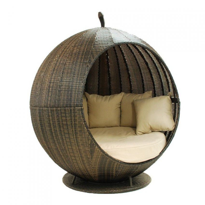 Round Wicker Porch Swing Bed von Round Rattan Swing Bed Bild