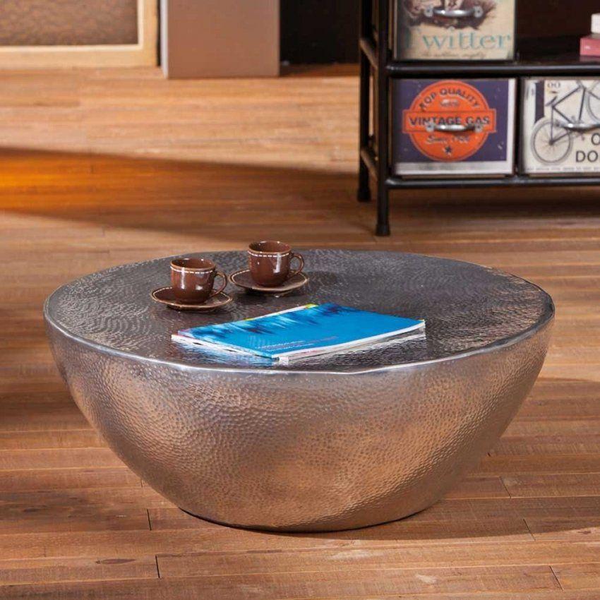 Runder Aluminium Couchtisch Romani In Silber  Wohnen von Couchtisch Aluminium Rund Photo