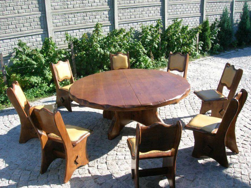 Runder Gartentisch Aus Massiv Eiche Oder Fichte Für 8 Personen von Rustikale Gartenmöbel Aus Eiche Photo