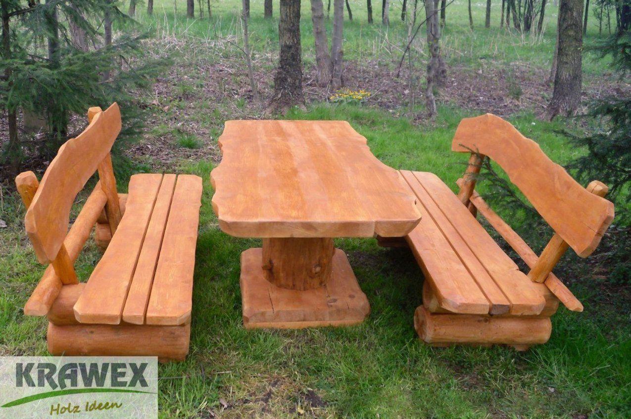 Rustikale Gartenbank Bauen Sitzgruppe Sitzgarnitur  Holz Gartenbank von Rustikale Gartenbank Aus Holz Bild