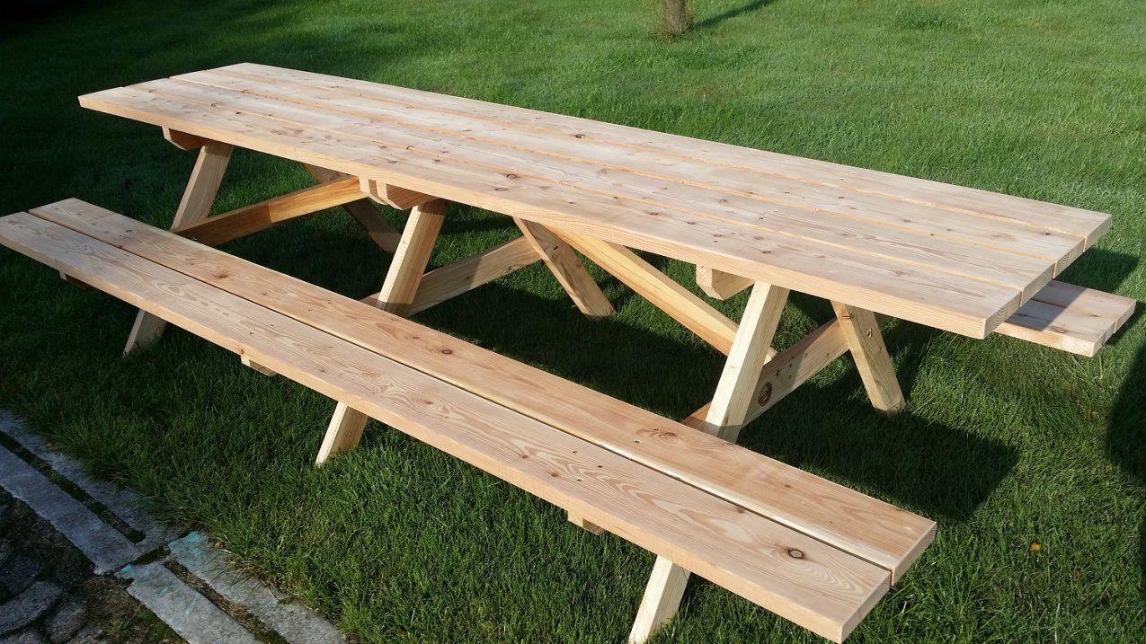Rustikaler Gartentisch Mit Bänken Für 12 Personen Online Kaufen von Gartentisch Für 12 Personen Bild