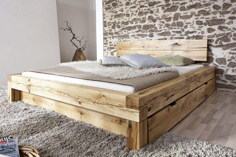 Sam® Balkenbett Elias Holzbett Mit Schubkästen 160X200 Cm Demnächst von Bett Aus Holz Bauen Photo