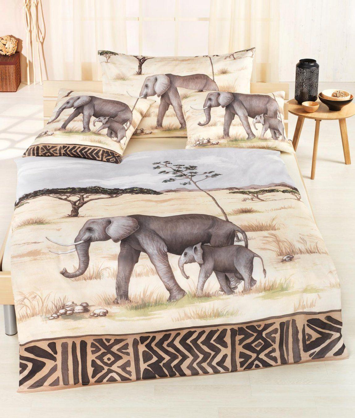 Satinbettwäsche Elefant Kaufen  Angela Bruderer Onlineshop von Bettwäsche Afrika Design Photo