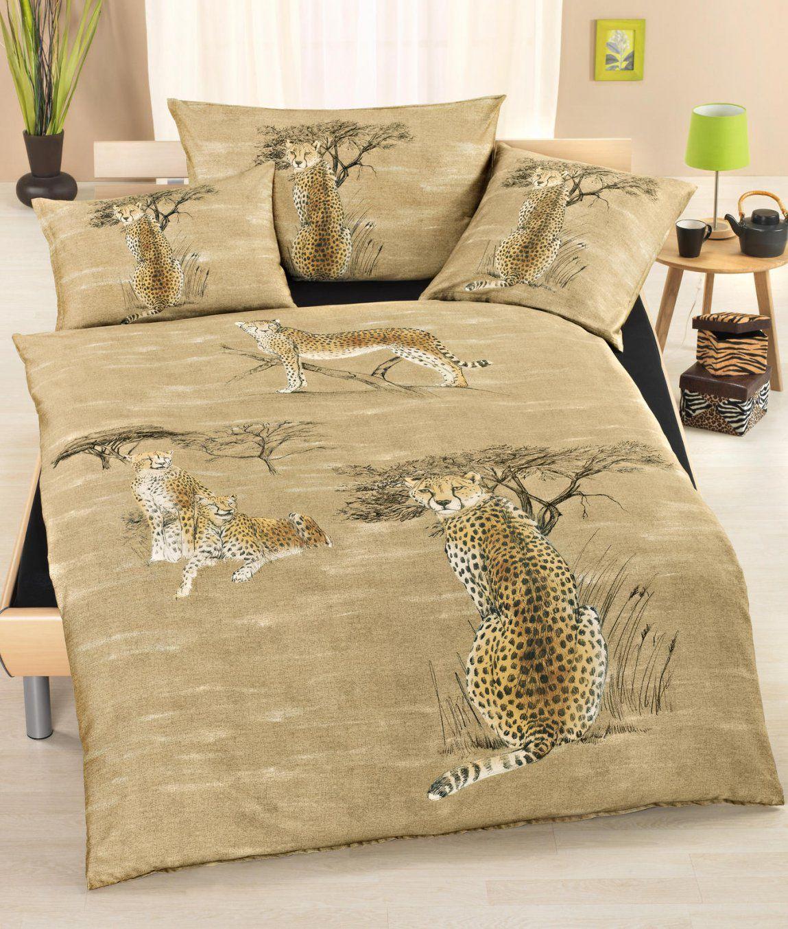 Satinbettwäsche Gepard Kaufen  Angela Bruderer Onlineshop von Bettwäsche Afrika Design Bild