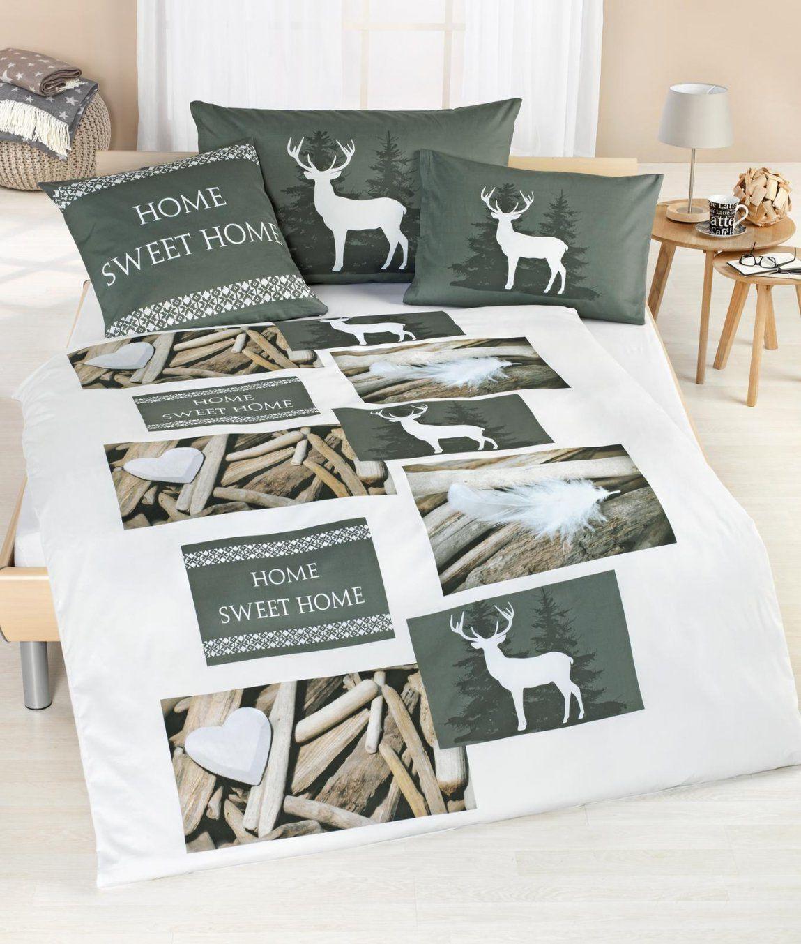 Satinbettwäsche Home Sweet Home Kaufen  Angela Bruderer Online von Home Ideas Bettwäsche Bild