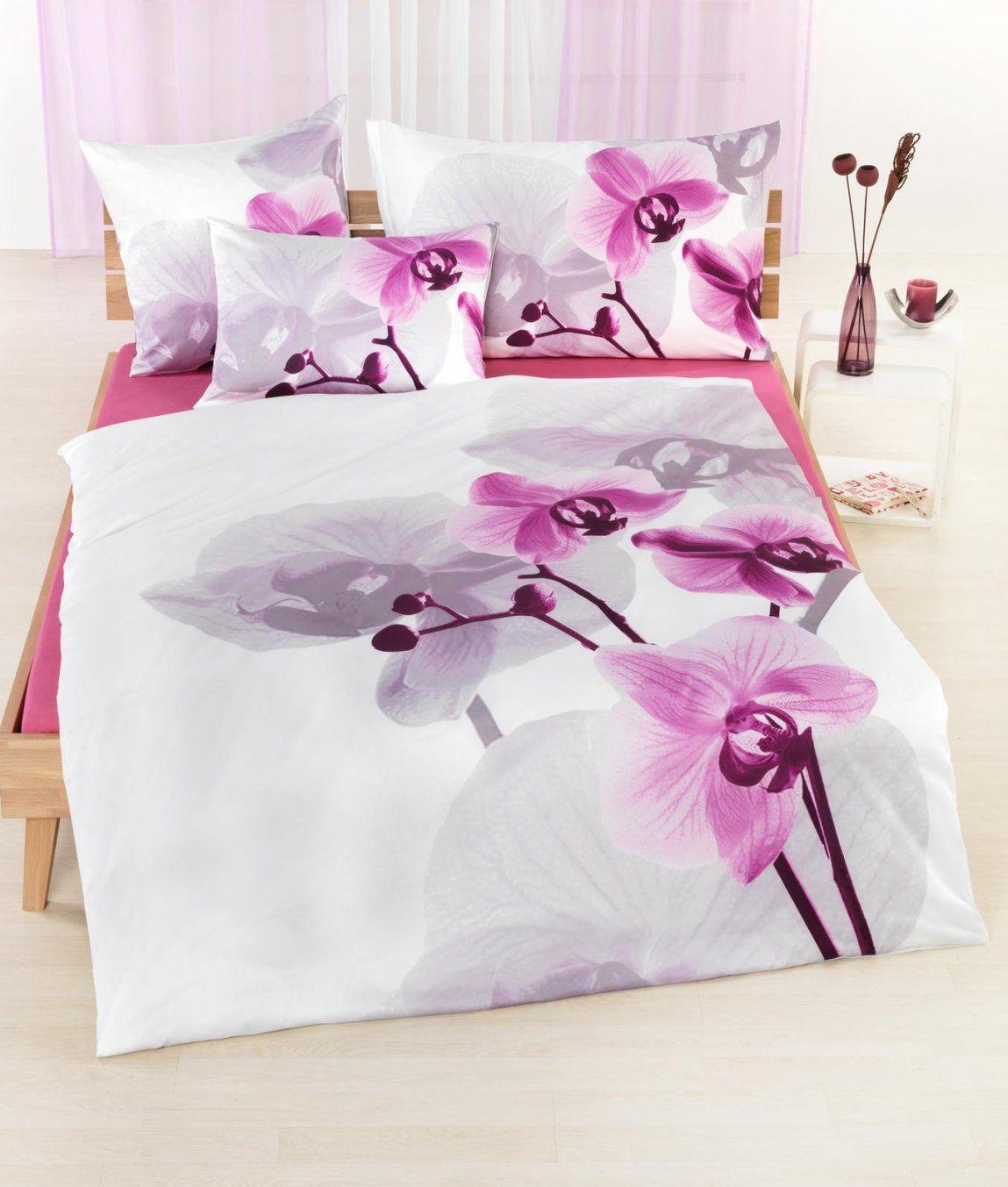 Satinbettwäsche Orchidee Kaufen  Angela Bruderer Onlineshop von Bettwäsche Orchideen Motiv Bild