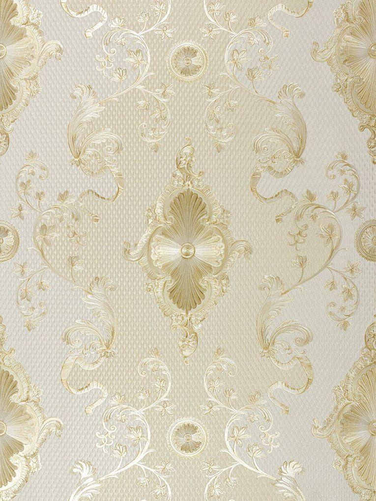 Satintapete Barock Hermitage Glanz Creme Gold 682963 von Barock Tapete Weiß Gold Photo
