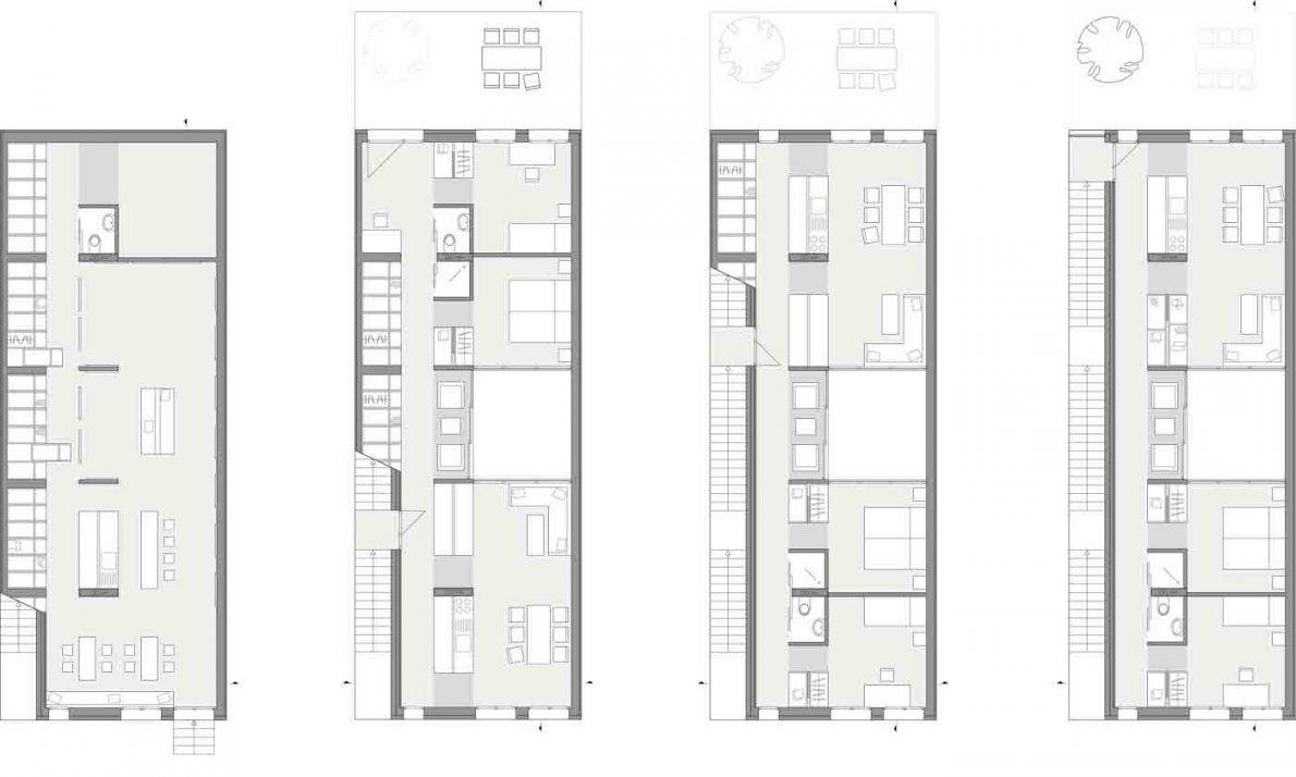 Schmale Mehrfamilienhäuser von Langes Schmales Haus Grundriss Bild