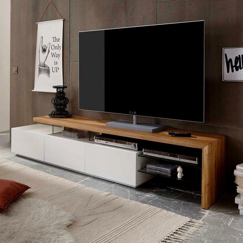 Schön Tv Schrank Holz Board Sydney In Weiss Mit Eiche Massivholz von Tv Schrank Für Ecke Bild