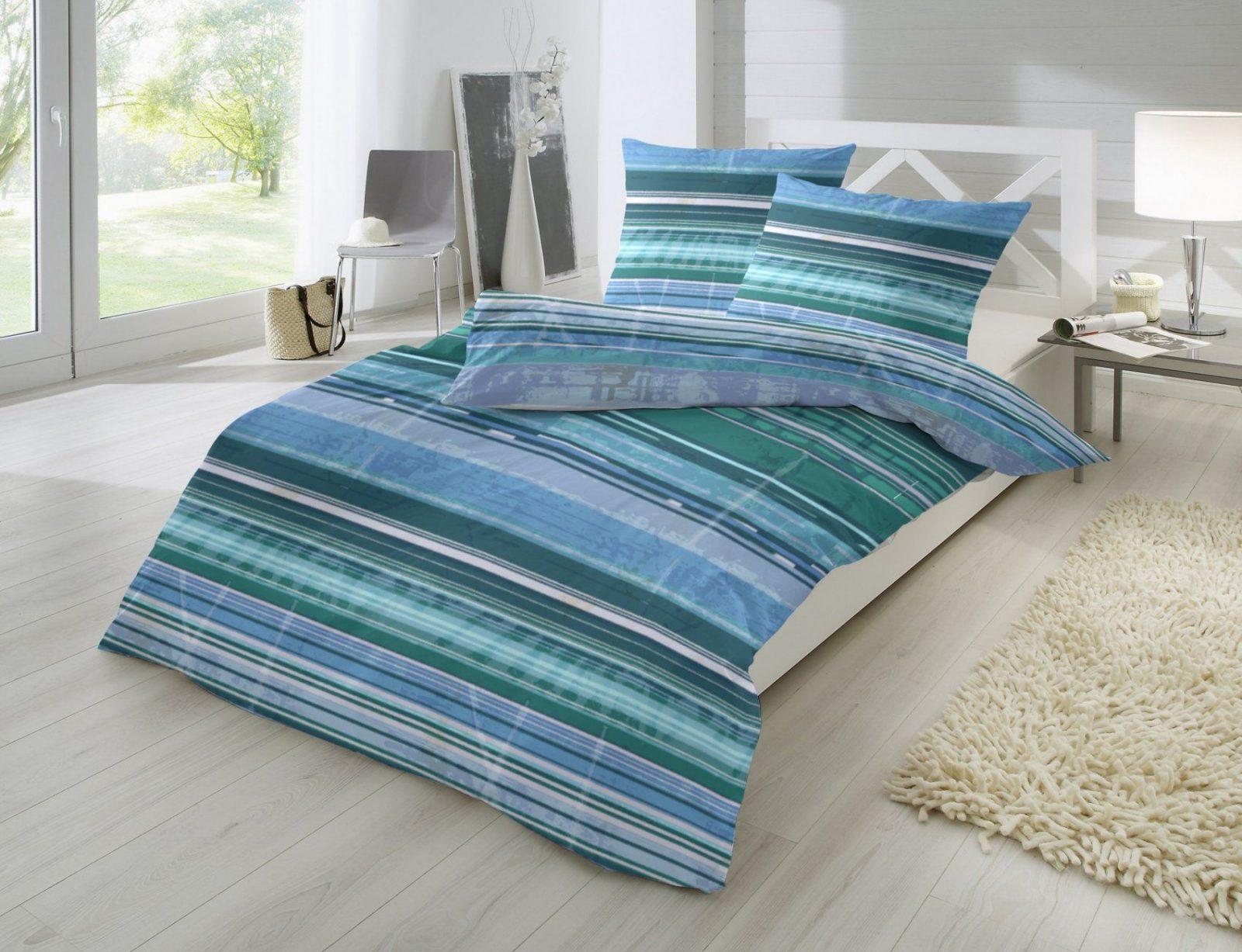 Schönheit Bettwäsche Gestreift Hahn Mako Satin Bettwaesche Blau von Satin Bettwäsche Blau Bild