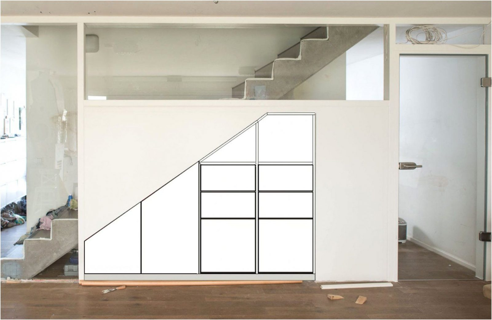 schrank unter offener treppe haus design ideen. Black Bedroom Furniture Sets. Home Design Ideas