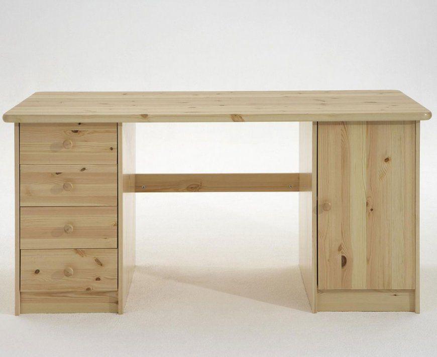 Schreibtisch 150X65X78Cm 4 Schubladen Links 1 Tür Rechts Kiefer von Kiefermöbel Gelaugt Und Geölt Bild
