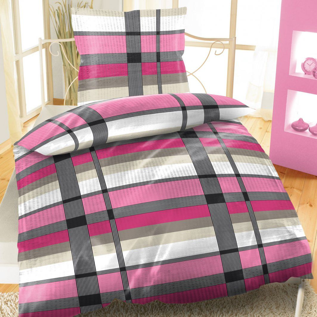 Seersucker Baumwolle Bettwäsche 135X200 Cm Kariert Streifen von Moderne Bettwäsche 135X200 Bild