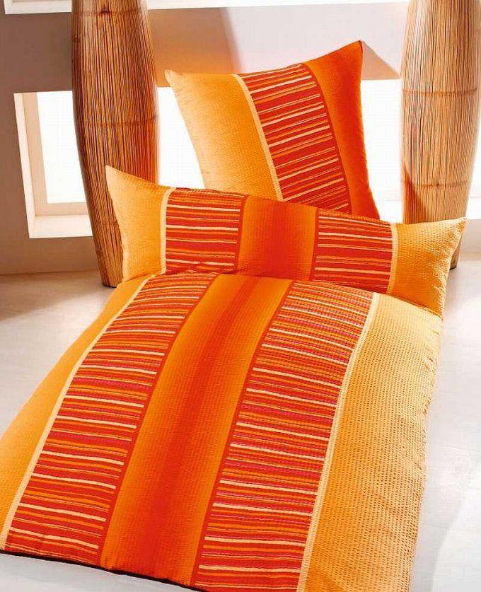 Seersucker Bettwäsche 100% Microfaser 135X200 Cm In Orange Gelb von Microfaser Seersucker Bettwäsche 155X220 Photo