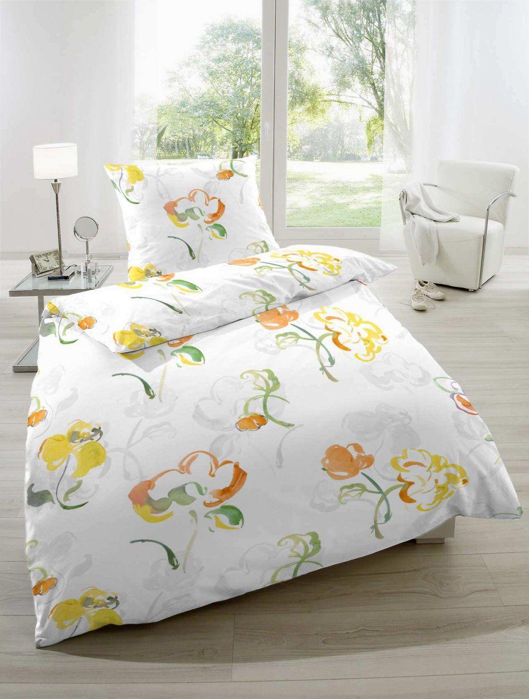Seersucker Bettwäsche 135X200 Cm Blumen Weiß Gelb  Magita von Microfaser Seersucker Bettwäsche 135X200Cm Bild