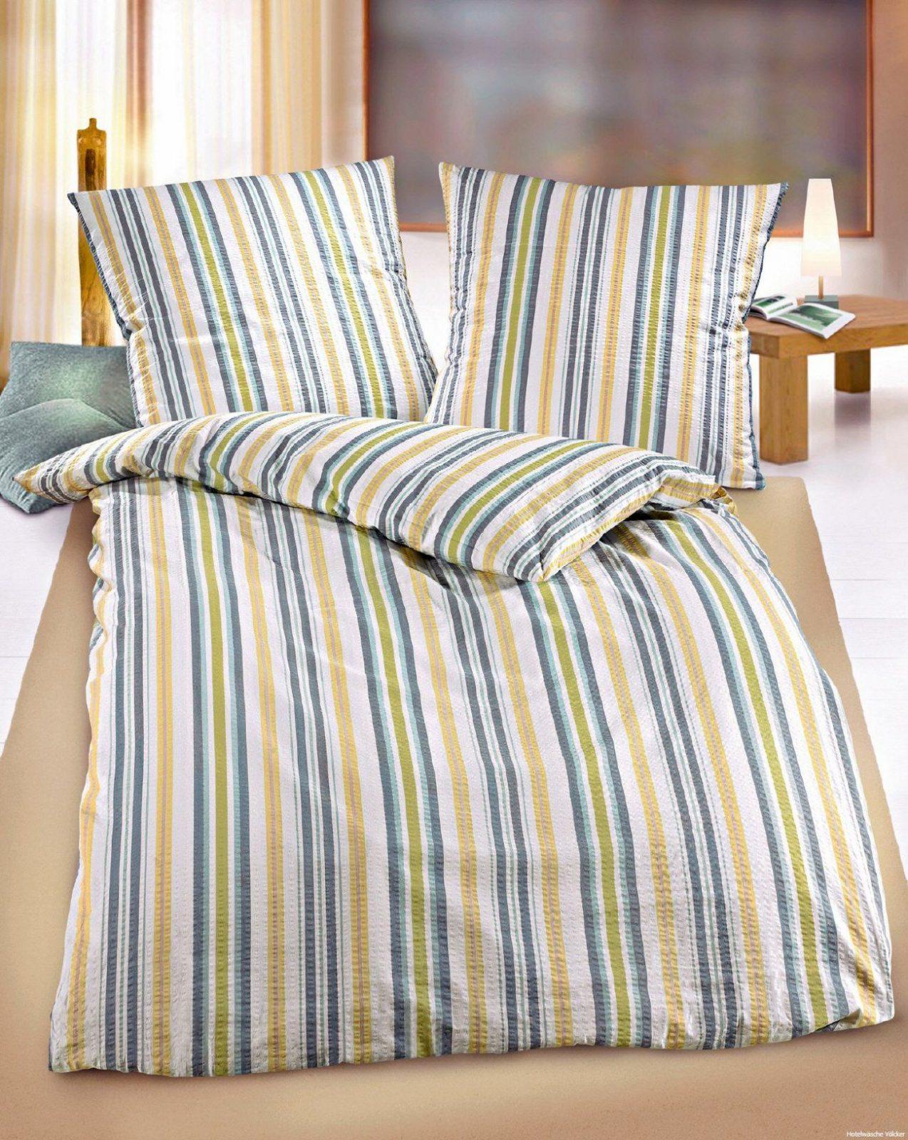 Seersuckerbettwäsche Streifen Mit Hotelverschluß Mehrfarbig von Bettwäsche Mit Hotelverschluss Bild