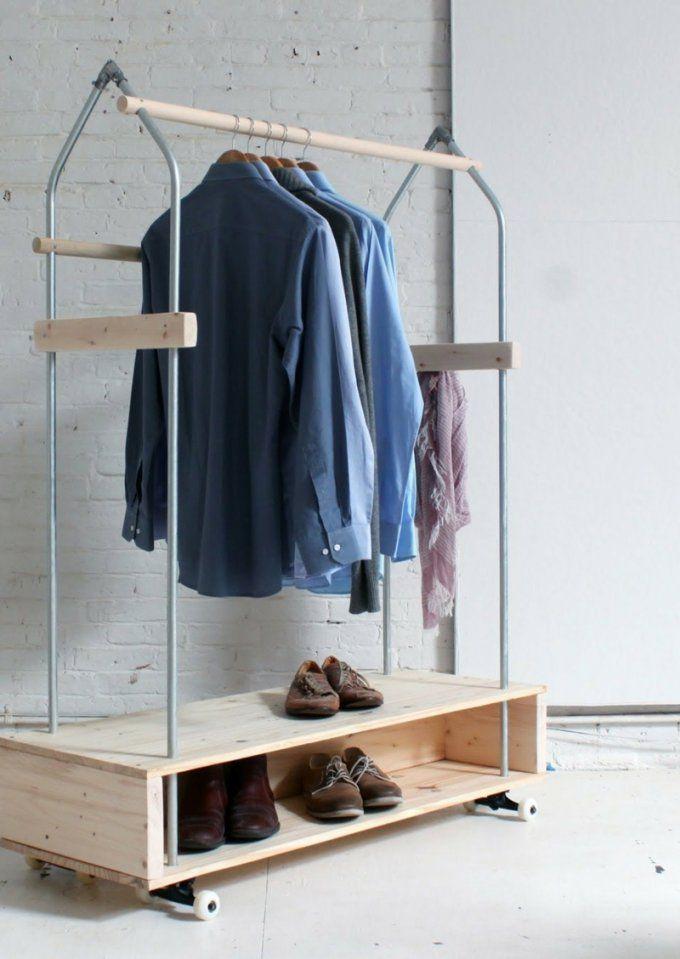 Selbstgebaute Kleiderständer Ersetzen Erfolgreich Den Kleiderschrank von Garderobenständer Holz Selber Bauen Photo