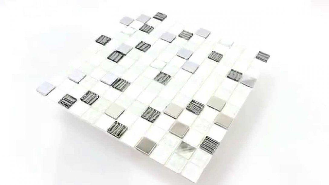Selbstklebendes Glas Edelstahl Mosaik Fliesen Schwarz Grau Weiss von Mosaik Fliesen Schwarz Weiß Grau Bild