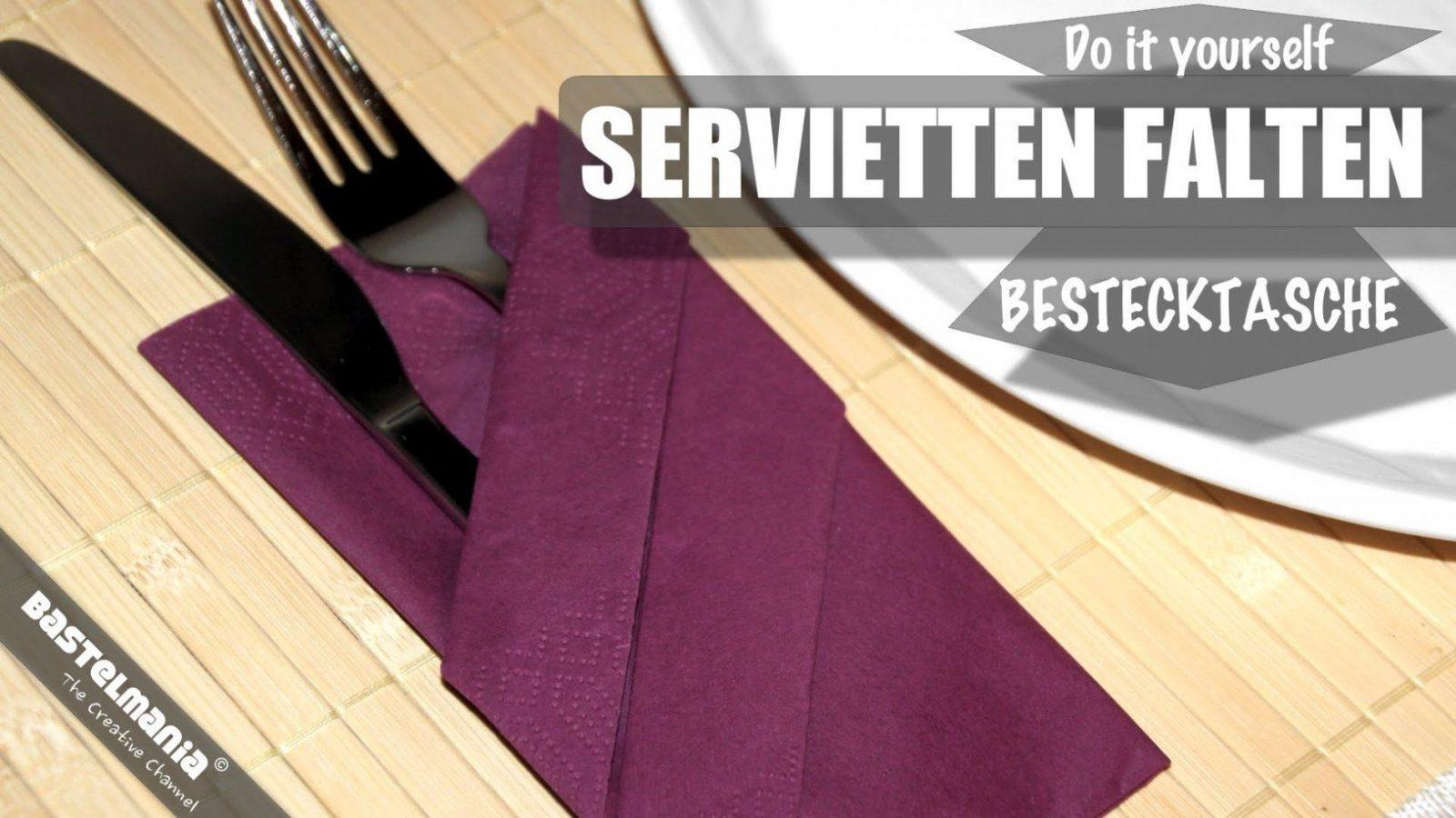 Servietten Falten Anleitung Bestecktasche Diy Napkin Folding von Servietten Falten Mit Besteck Photo