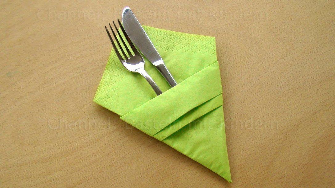 Servietten Falten Bestecktasche  Einfache Tischdeko Basteln  Deko von Servietten Falten Bestecktasche Zweifarbig Bild