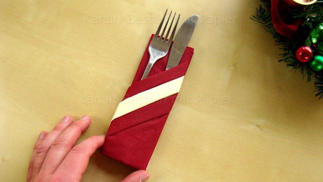 Servietten Falten Bestecktasche Mit 2 Papierservietten Basteln Für von Servietten Falten Mit Besteck Photo