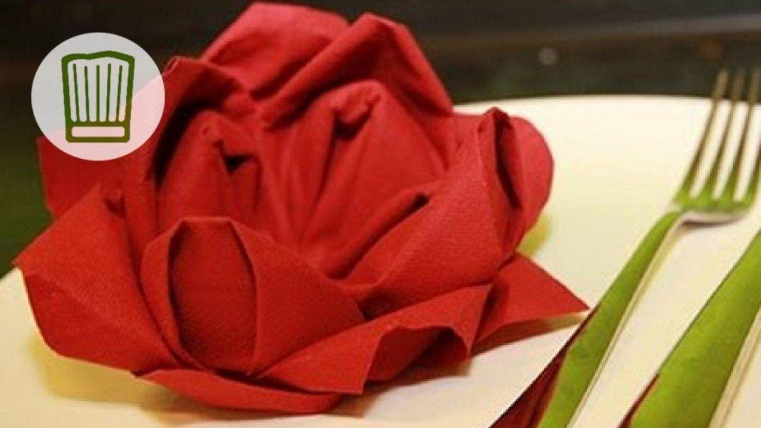 Servietten Falten  Die Rose  Tischdeko Zum Valentinstag  Video von Servietten Falten Blume Anleitung Photo