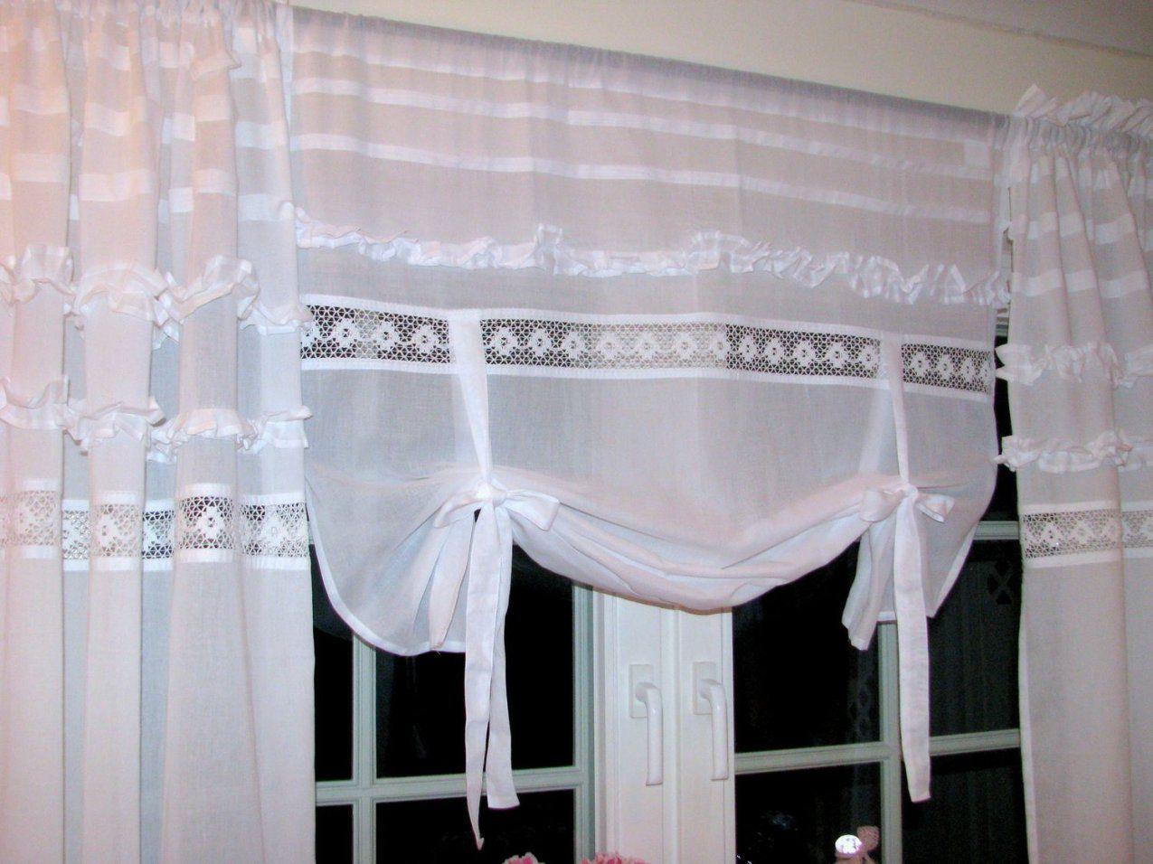 Shabby Chic Raffgardine Französischer Landhausstil Raffrollo Weiß von Französischer Landhausstil Gardinen Photo