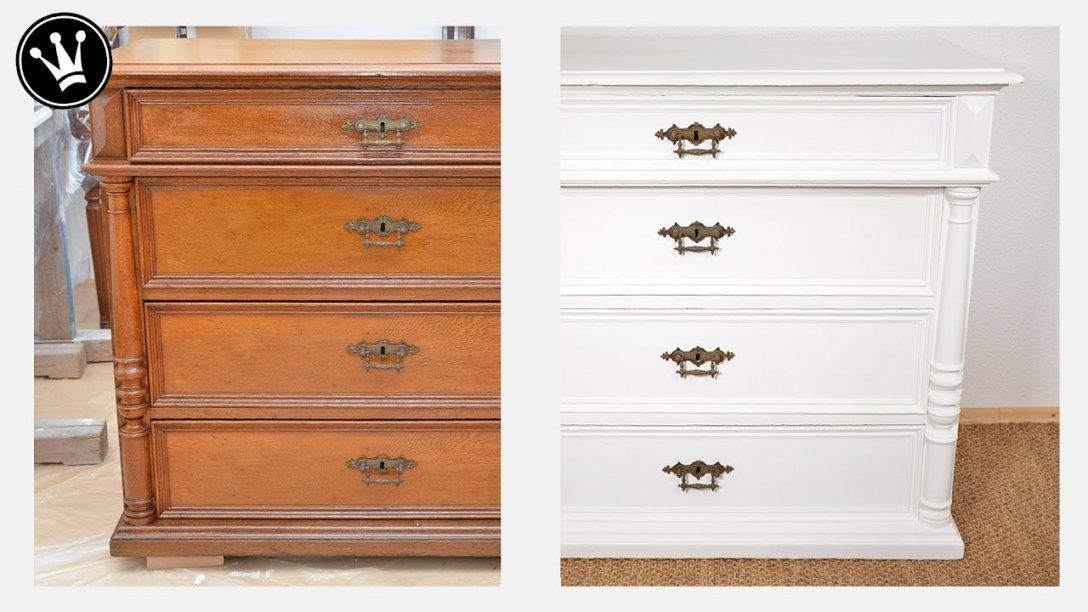 Shabby Chic Tutorial  Alte Möbelkommode Aus Eiche Mit Kreidefarbe von Dunkle Möbel Weiß Streichen Bild
