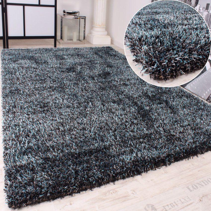 Shaggy Teppich Hochflor Langflor Leicht Meliert In Türkis Anthrazit von Hochflor Teppich Grau 160X230 Photo