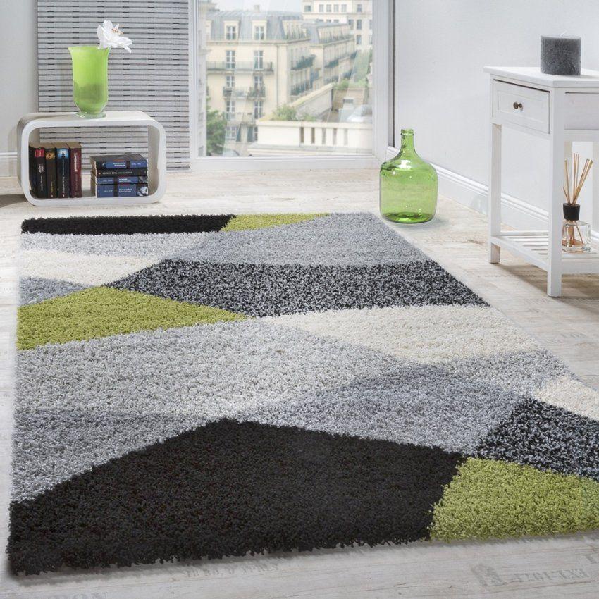 Shaggy Teppich Hochflor Langflor Weich Geometrisch Gemustert Grau von Hochflor Teppich Grau 160X230 Bild