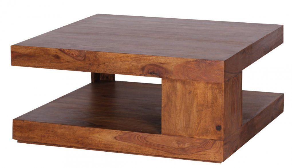 Sheesham Couchtisch Massiv 90 X 90 Cm Mit Ablage Massivholz  Joometo von Couchtisch Holz Braun Bild