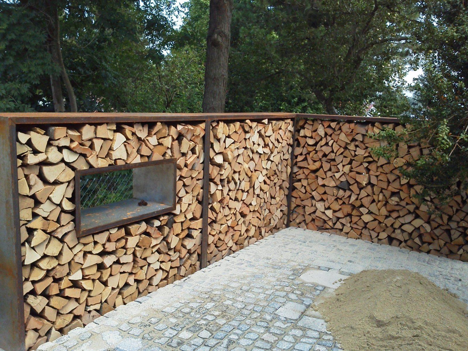 Sichtschutz Holzlager  Gartendekoration Hauner von Sichtschutz Garten Metall Rost Bild