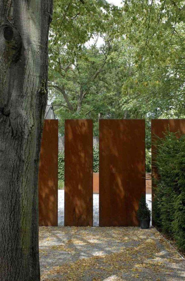 Sichtschutz Im Garten Mit Cortenstahl  Garten  Pinterest von Cortenstahl Sichtschutz Für Garten Bild