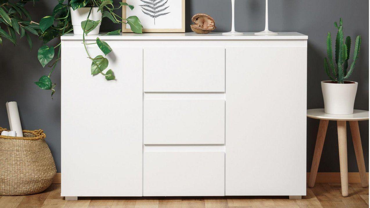 Sideboard Blanc 4 Grifflose Kommode In Weiß 120 Cm Breit von Kommode Weiß 120 Breit Bild