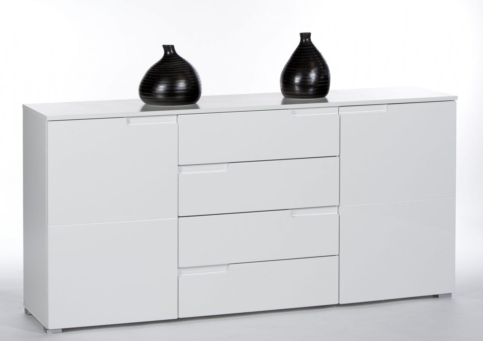 Sideboard Weiss Hochglanz Mit 2 Türen Und 4 Schubkästen von Regal Mit Türen Weiß Hochglanz Bild