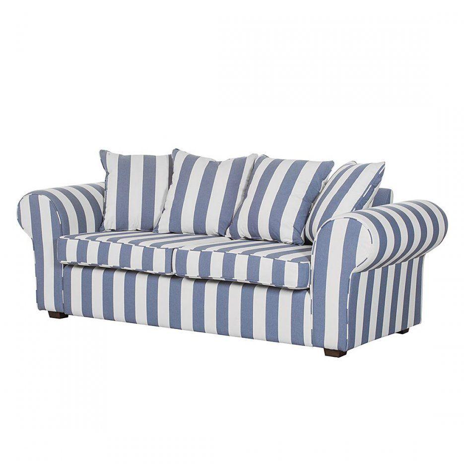 Sofa Colmar (3Sitzer)  Webstoff Blau Gestreift Maison Belfort von Schlafsofa Blau Weiß Gestreift Bild