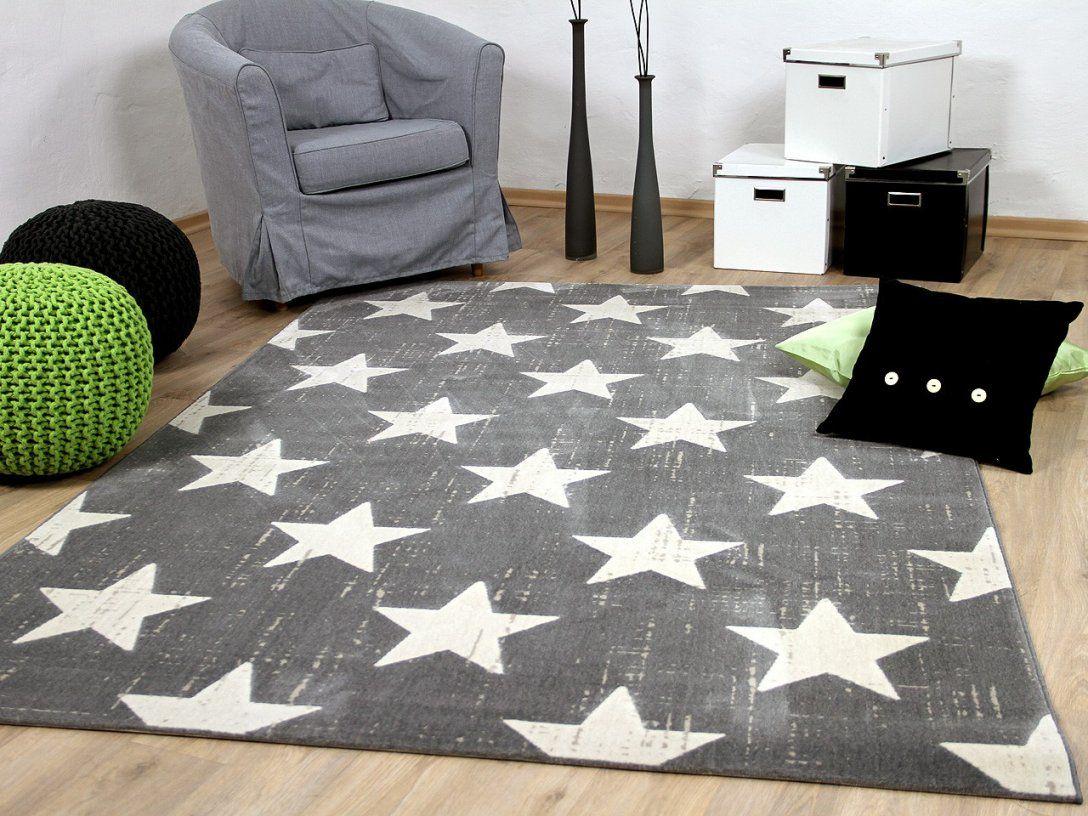 Softtouch Velours Designer Teppich Canvas Sterne Grau Teppiche von Teppich Mit Sternen Grau Photo