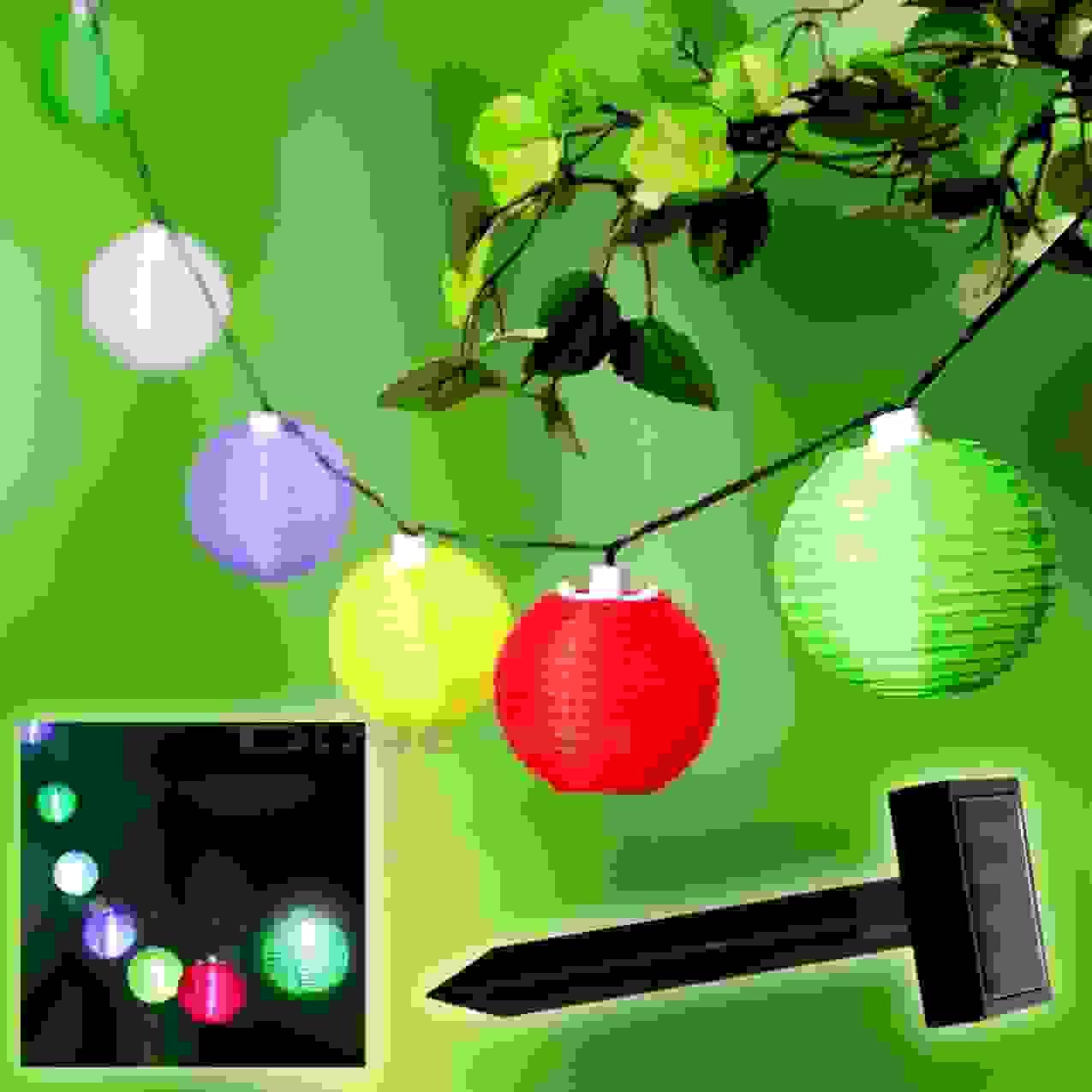 Solar Led Bunte Lichterkette Lampionkette Lampions Lampion Kette von Solar Lampions Für Den Garten Bild