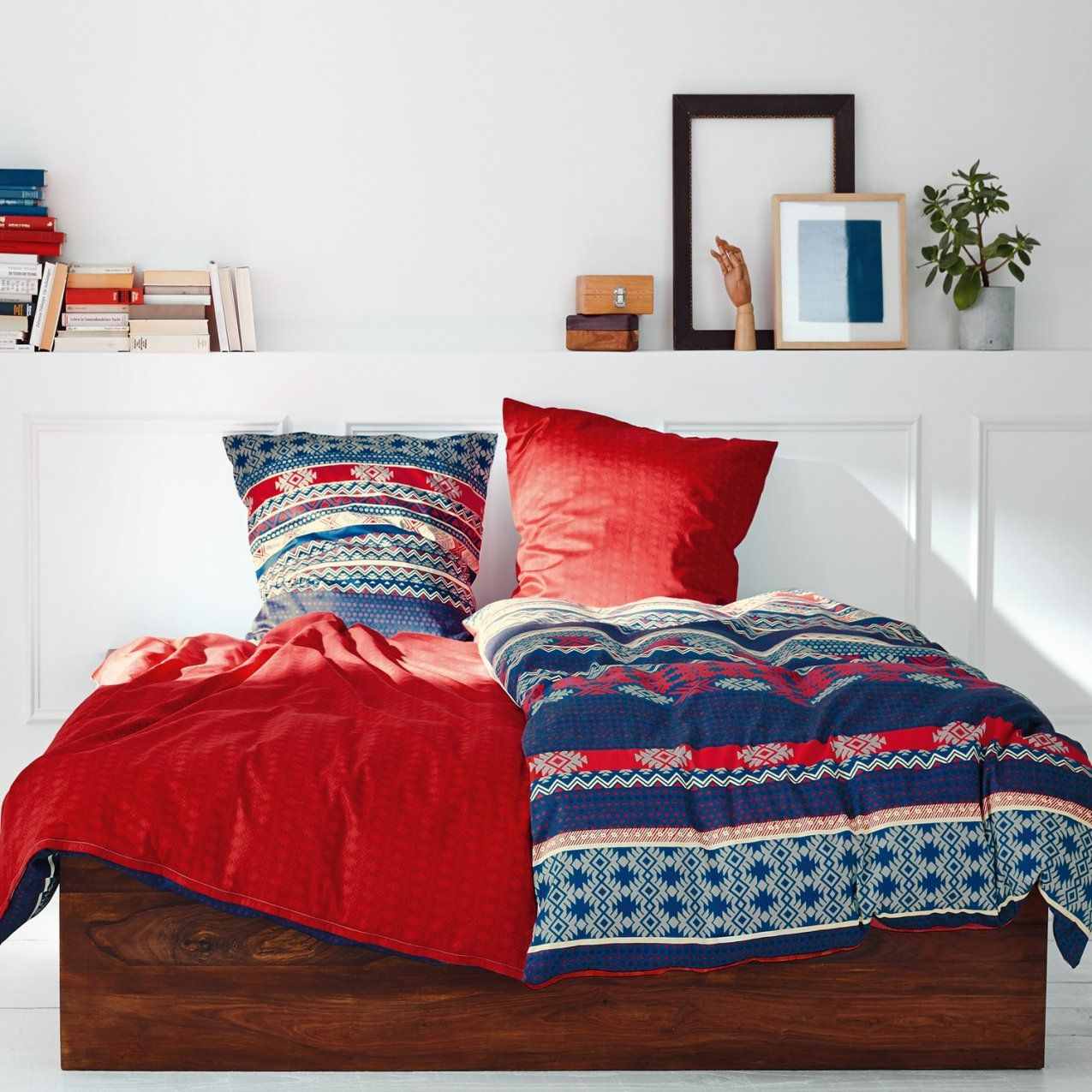 Soliver Makosatin Bettwäsche 5170630 Blau Rot von S Oliver Bettwäsche Flanell Photo