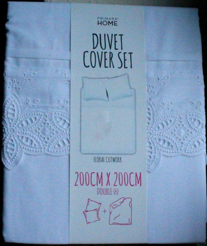 Spitze Stickerei Weiße Bettwäsche 200X200 Double Duvet Cover Set von Primark Bettwäsche Größe Bild